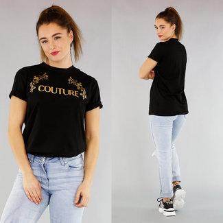 NEW0104 Grundlegendes Übergroßes T-Shirt mit Text und Schwarz Impressum