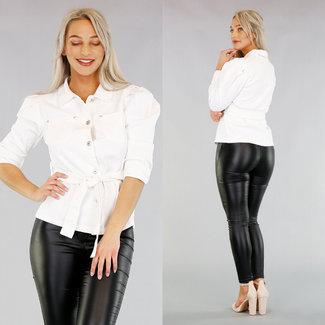 NEW2503 Weiße Jeans-Jacke mit Bund