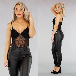 NEW2503 Sexy Schwarz Bodysuit mit Mesh und Spitze