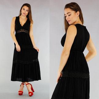 NEW0104 Schwarz Maxi-Kleid mit V-Ausschnitt und bordierter