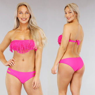 Fuchsia Bandeau Bikini mit Fransen