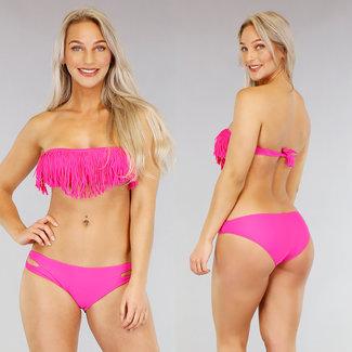NEW0104 Fuchsia Bandeau Bikini mit Fransen