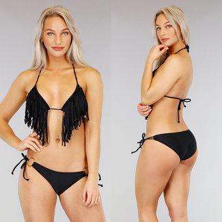 NEW0104 Schwarzes Dreieck Halter Bikini mit Fransen