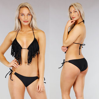 Schwarzes Dreieck Halter Bikini mit Fransen