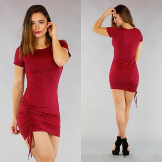 NEW0804 Wein-elastisches Kleid mit Spitze