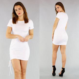 NEW0804 Weißer elastisches Kleid mit Spitze