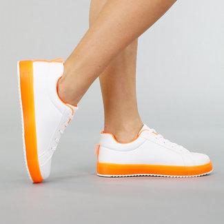 NEW0804 Weiße Turnschuhe aus Leder Blick mit Neon Orange-Details