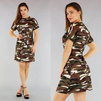 NEW0804 Camouflage-Kleid mit Knöpfen
