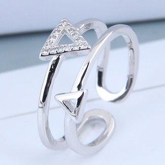 NEW0804 Silber Ring mit Dreiecken