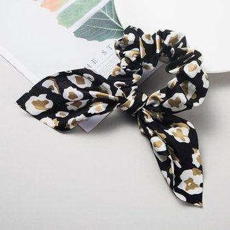 Leopard-Scrunchie mit Bogen in Schwarz