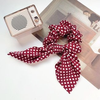 NEW0804 Polkadot-Scrunchie mit Schleife in Rot