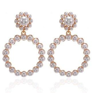 NEW0804 Rund Gold-Statement Ohrringe mit Perlen