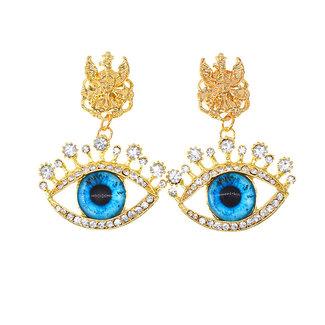 NEW0804 Goldene Ohrringe mit blauen Augen