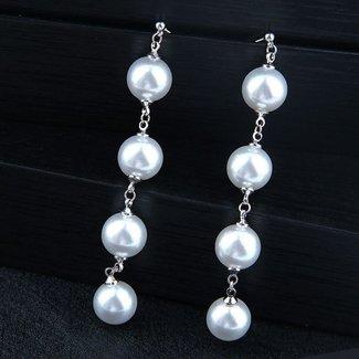 NEW0804 Lange Silber-Ohrringe mit Perlen