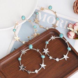 Silber-Stern-Ohrringe mit Türkis-Stein