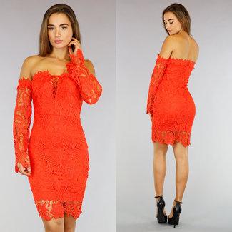 Hooked Orange Aus-Schulter-Midi-Kleid