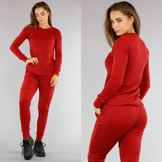 Hausanzug mit Pullover in Rot