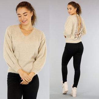Trendy Kamel Pullover Puffärmel und Open Back