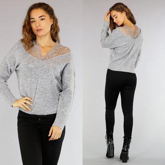 Graue Pullover mit Spitze Ausschnitt
