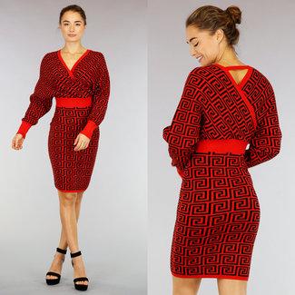 !OP=OP Red Sweater Wickelkleid mit Muster
