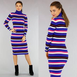 Lange Rib-Kleid-Blau-Streifen-Muster