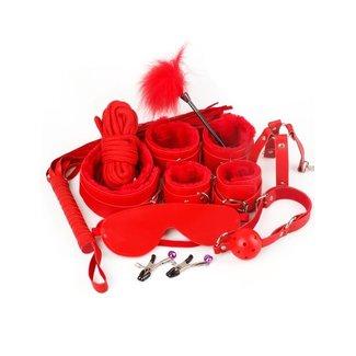 Luxus-Rot-Leder-Blick Bondage Set