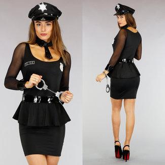 Schwarz Polizei Kostüm mit Zubehör