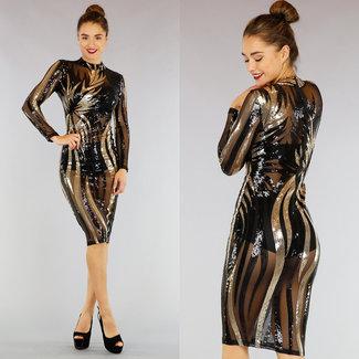 See-Through Schwarzes Kleid mit Pailletten-Ineinander greifen