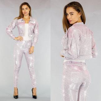 Hellrosa Glitter 2-teilig mit vestje