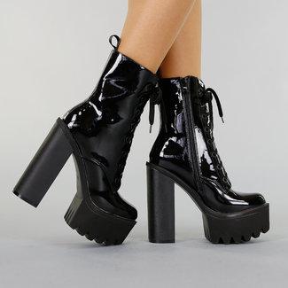 Schwarz PVC-Stiefel mit hohem Blockabsatz und Plattform