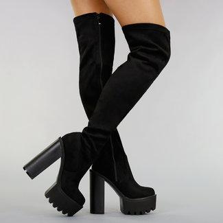 Schwarz Overknee Stiefel mit Blockabsatz und Plattform