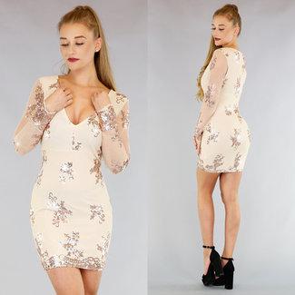 Nude Langarm-Glitter-Kleid