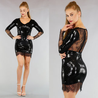 Schwarzes Paillettenkleid mit Spitze Rücken
