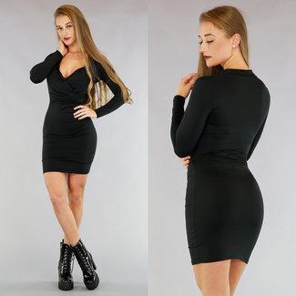 !XSALE Basic Black, figurbetontes Kleid mit Wrap