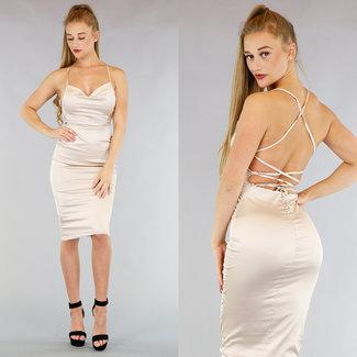 !XSALE Satin Champagne Midi-Kleid mit drapierten Ausschnitt