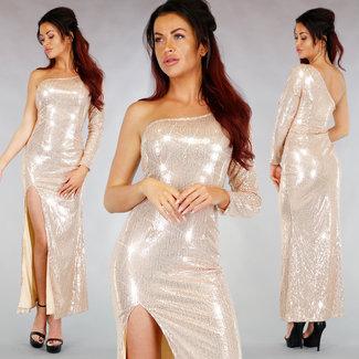 !OP=OP Funkelnde Aprikose One-Hülsen-Kleid Gala Split