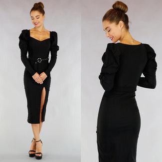!XSALE Ordentlich Schwarz Puff Ärmel Kleid mit Gürtel