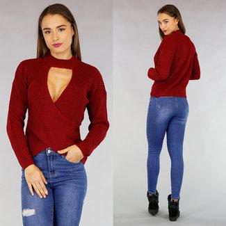 Bordeaux Knit Wrap Sweater Cut