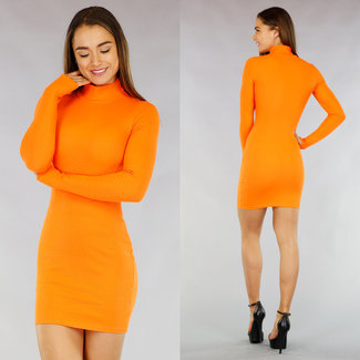 Basic Orange Rib figurbetontes Kleid