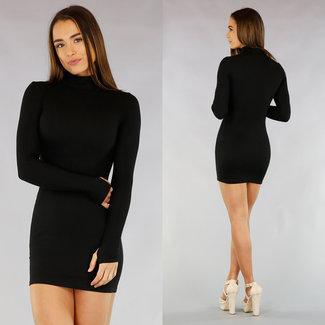 !XSALE Basic Black Rib figurbetontes Kleid