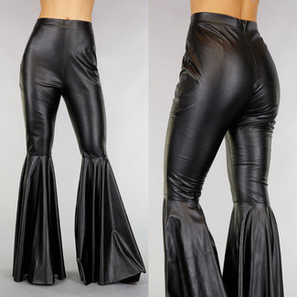 !OP=OP Schwarze Lederoptik Hose mit Flair Pipes
