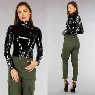 Schwarz PVC Langarm-Bodysuit