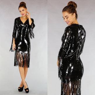 !OP=OP Fringe Schwarz Paillettenkleid mit Kragen