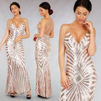 Nude Gala-Kleid mit Pailletten Rosà ©