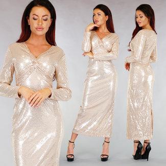 Funkelnde Aprikose Gala Kleid Gedreht Details