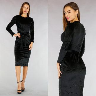 !XSALE Black Velvet Blick Kleid mit Knopfleiste