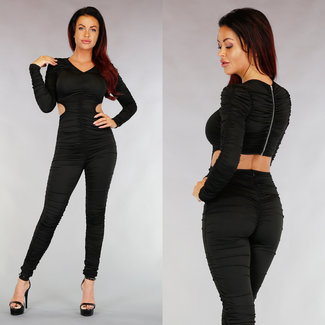 !XSALE Sexy Black Plissee-Overall mit Cut