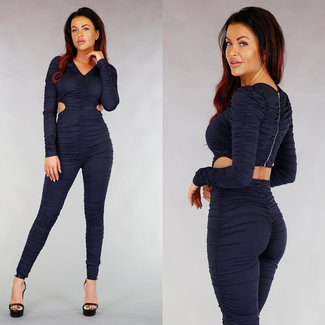 !XSALE Sexy Dunkel Plissee-Overall mit Cut