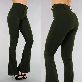 Elastic Dark Green Flair Hosen