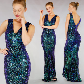 !XSALE Luxus Mermaid Sequin-Ballkleid